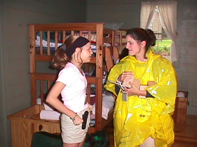 Jillianne and Colleen in the cabin 6-00