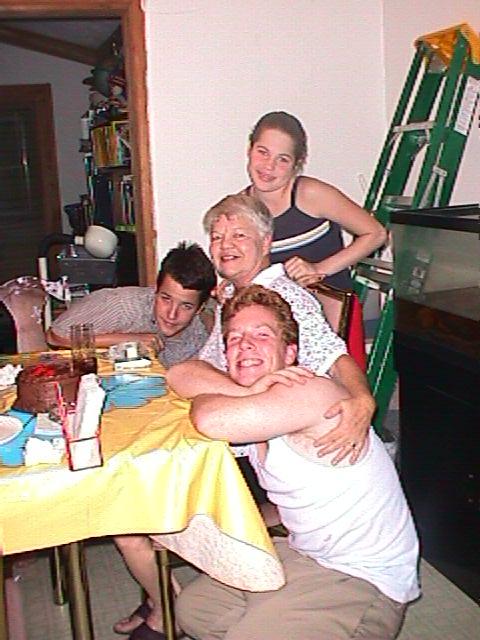 10-01-01 Justin, Jerry, and Jillianne celebrate Grandma's bithday